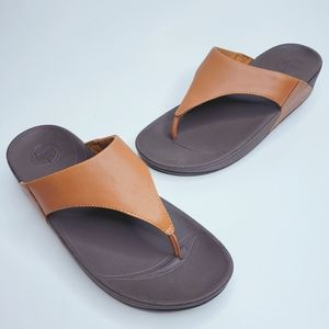 FitFlop LuLu Sandals Toffee Tan Thong Wedge